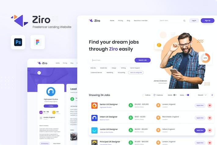 Thumbnail for Ziro - Freelancer Directory Website Design