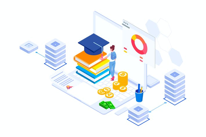 Thumbnail for Education Fund Blockchain Platform Isometric - FV