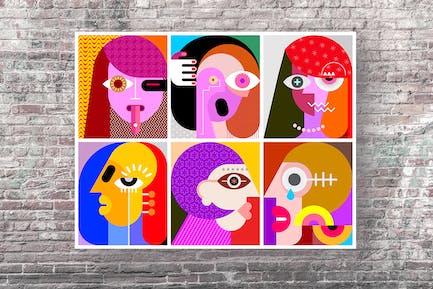 Six Faces Layered Vektor illustration