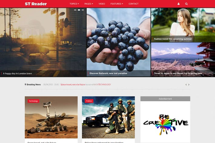 Thumbnail for Reader - News & Magazine Drupal Theme