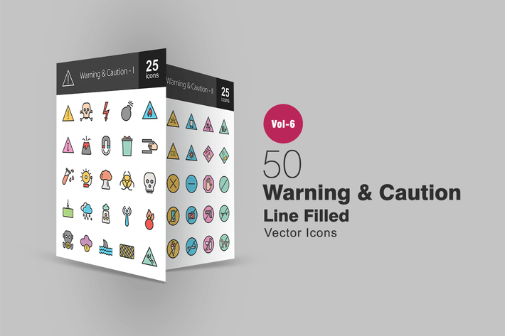 Thumbnail for 50 Warning & Caution Filled Line Icons