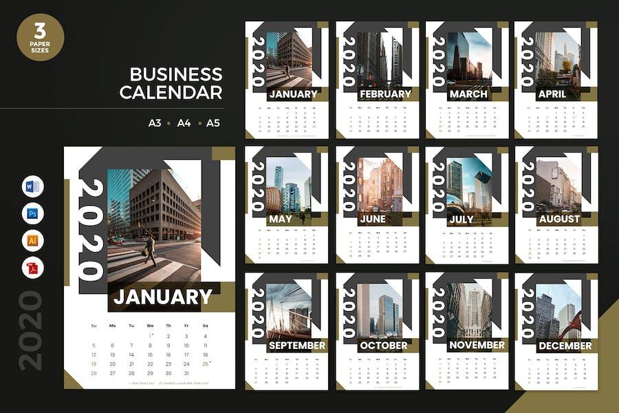 Business Calendar 2020 Calendar - AI, DOC, PSD