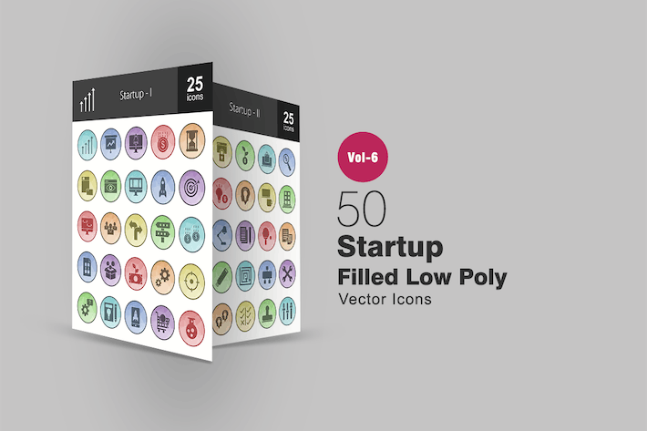 Thumbnail for 50 Startup Filled Low Poly Icons