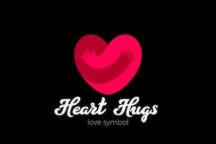 Heart Love Logo Design Valentine day Hugging Hands