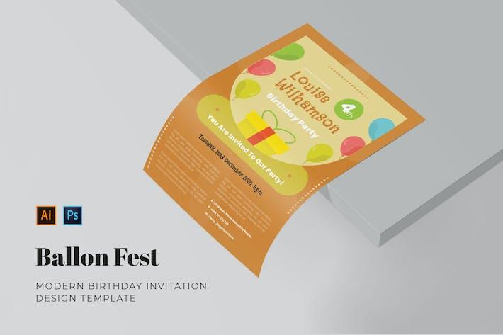 Thumbnail for Ballon Fest Birthday Invitation
