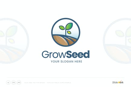 Grow Seed Sprout Logo Template