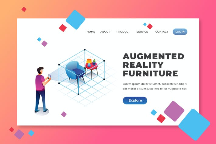 Augmented Reality Furniture - PSD AI Landing Page
