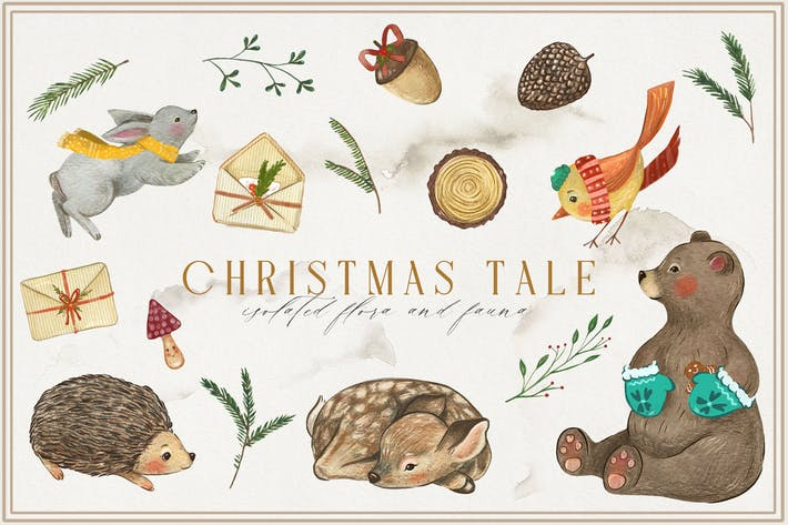 Thumbnail for Christmas Tale Watercolor Animal Collection