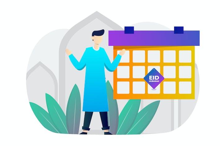 Cover Image For Celebrate Eid Mubarak Flat Design
