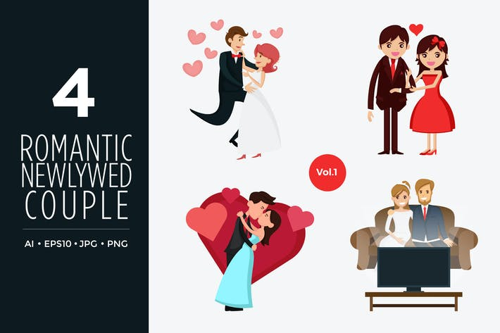 Thumbnail for Cute Newlywed Couple Vector Illustration Vol.1