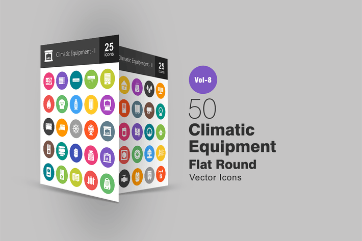 50 Climatic Equipment Flat Round Icons