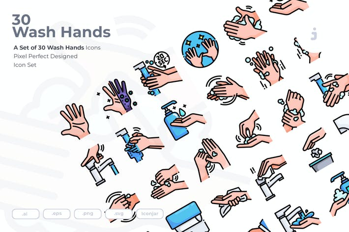 Thumbnail for 30 Wash Hands Icons