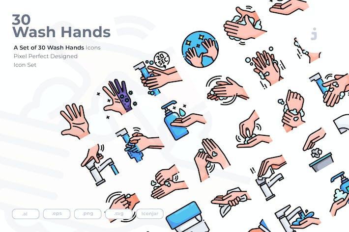 Thumbnail for 30 Hände waschen Icons