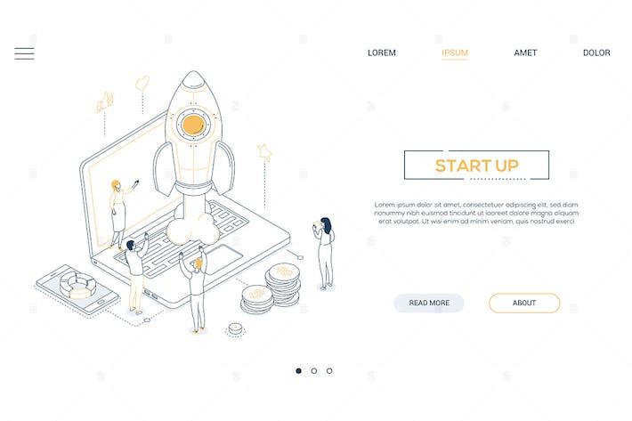 Thumbnail for Startup - isometric line design style web banner