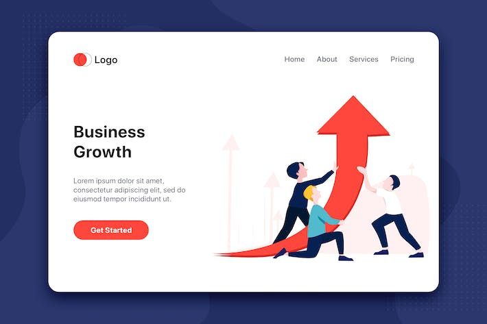 Thumbnail for Business Growth flat concept for Landing page