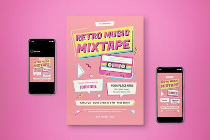 Music Mixtape Retro Flyer Set