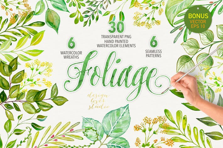 Cover Image For Watercolor foliage collection