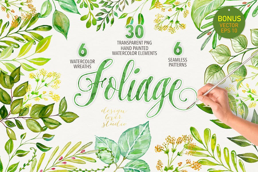 Watercolor foliage collection