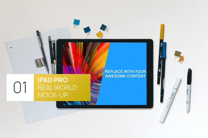 Thumbnail for iPad Pro Desk Flat Lay Real World Photo Mock-up