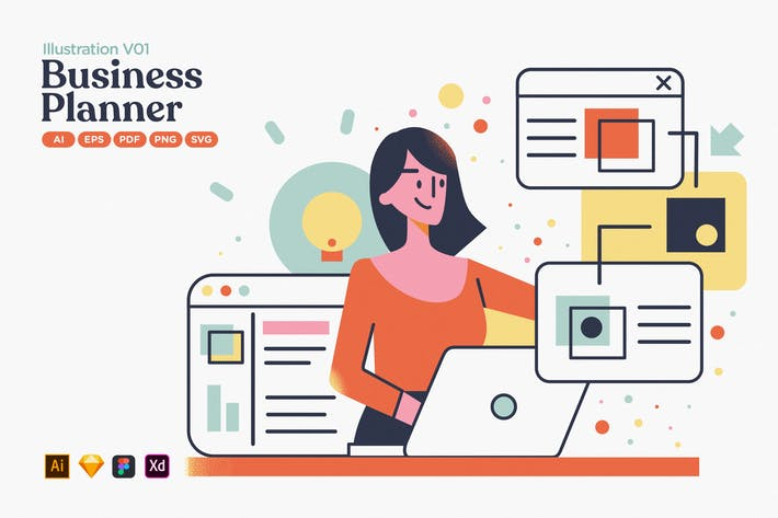 Business Strategy Planer Flache Illustration