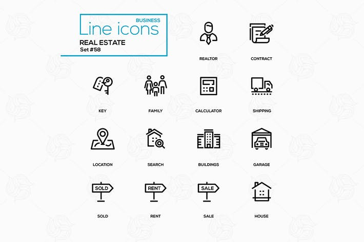 Thumbnail for Business concept, real estate - line design icons