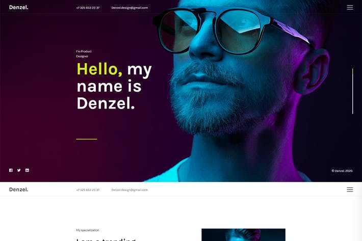 Thumbnail for Denzel. - Onepage Personal HTML Template