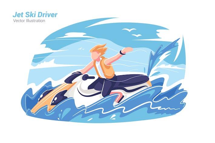 Thumbnail for Jet Ski Driver - Vector Illustration