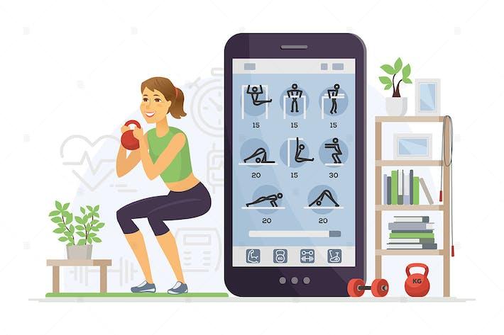 Thumbnail for Fitness app - cartoon character illustration