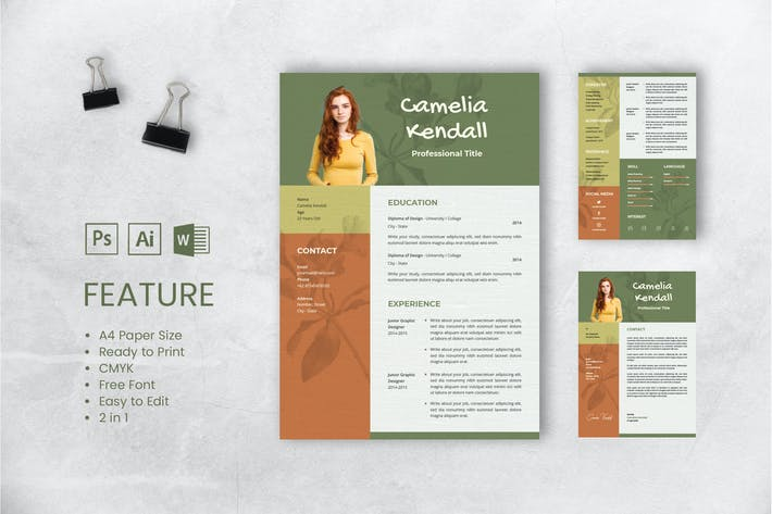 Thumbnail for Professional CV And Resume Template Kendall
