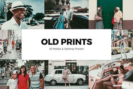 20 Old Prints Lightroom Presets & LUTs