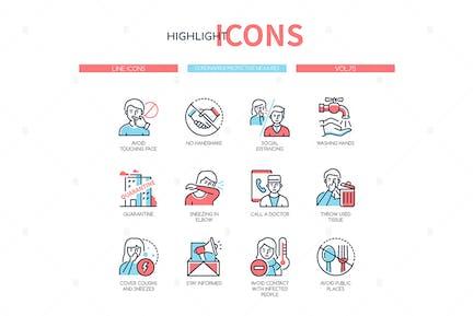 Coronavirus protective measures - line icons
