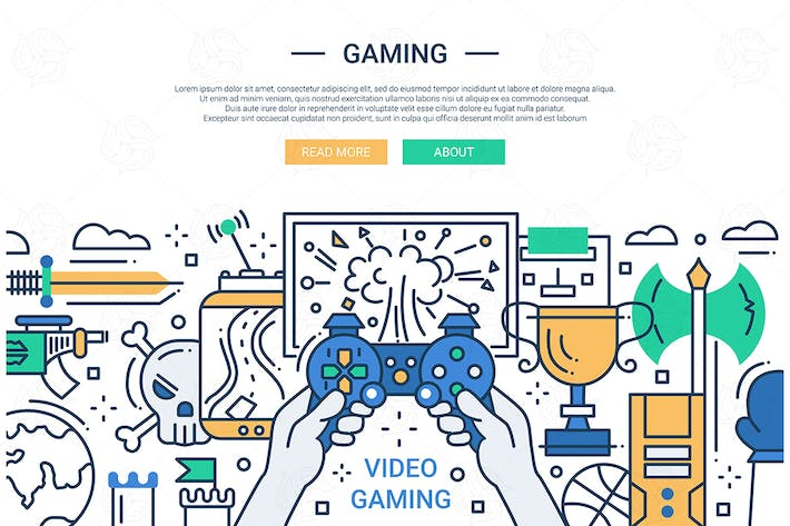 Cover Image For Video Gaming - line design website banner