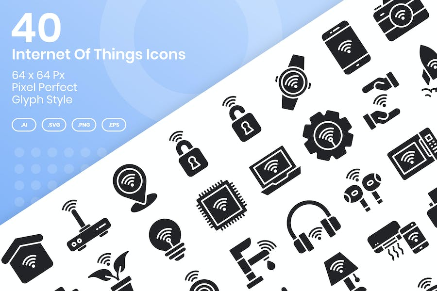 40 Internet Of Things Icons Set - Glyph