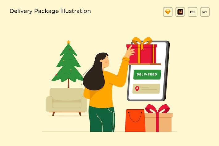 Thumbnail for Lieferpaket Einkaufen Vektor Illustration