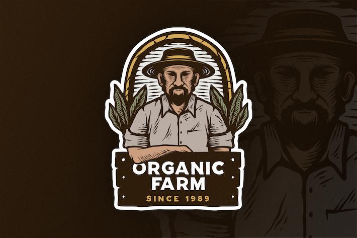 Thumbnail for Hand Drawn Organic Farms Logo Vintage