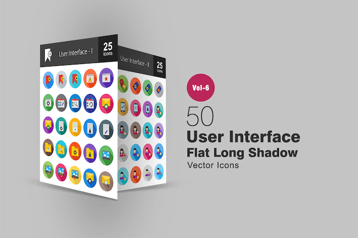 Thumbnail for 50 User Interface Flat Shadowed Icons