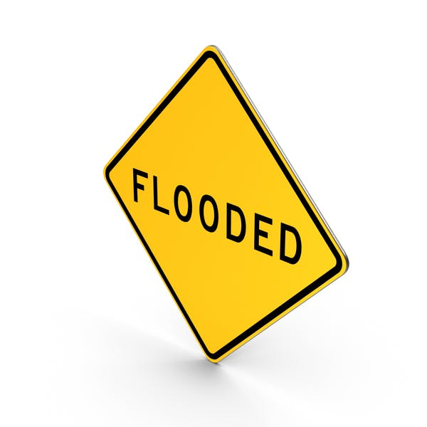 Flooded California Road Sign