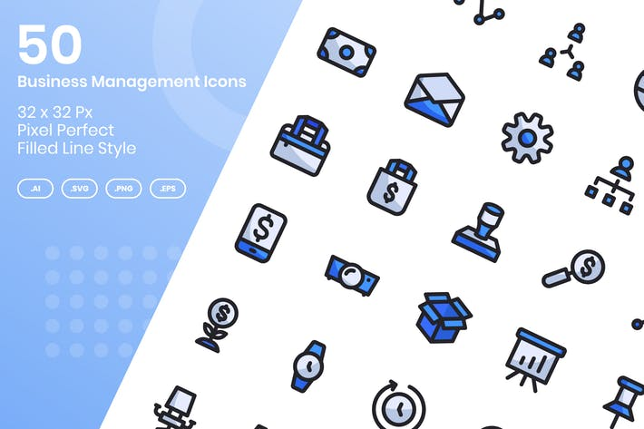 Thumbnail for 50 Business Management Icons Set - Filled Line