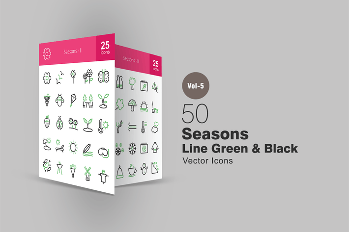 Thumbnail for 50 Seasons Line Green & Black Icons