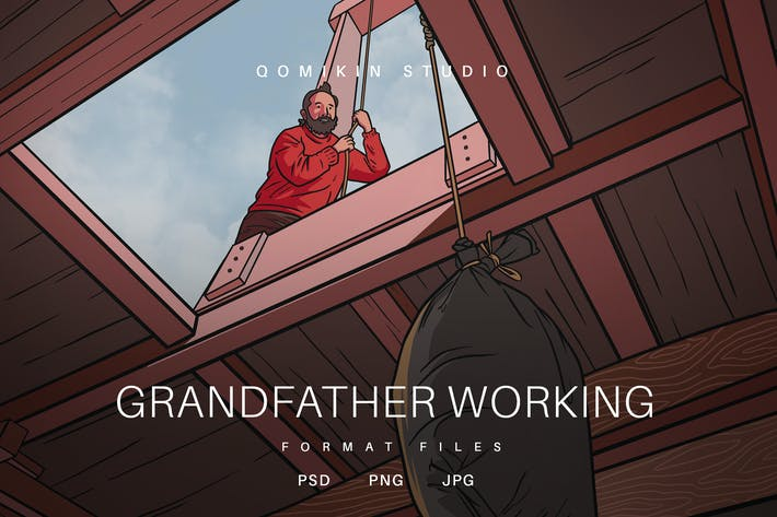 Thumbnail for Grandfather Working Illustration