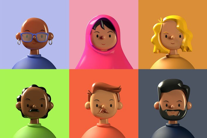 Thumbnail for Diverse 3D Avatars Six Pack — Toy Faces