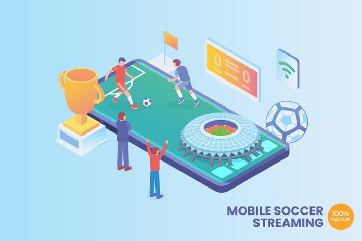 Cover Image For Isometric Soccer Streaming Vector Concept