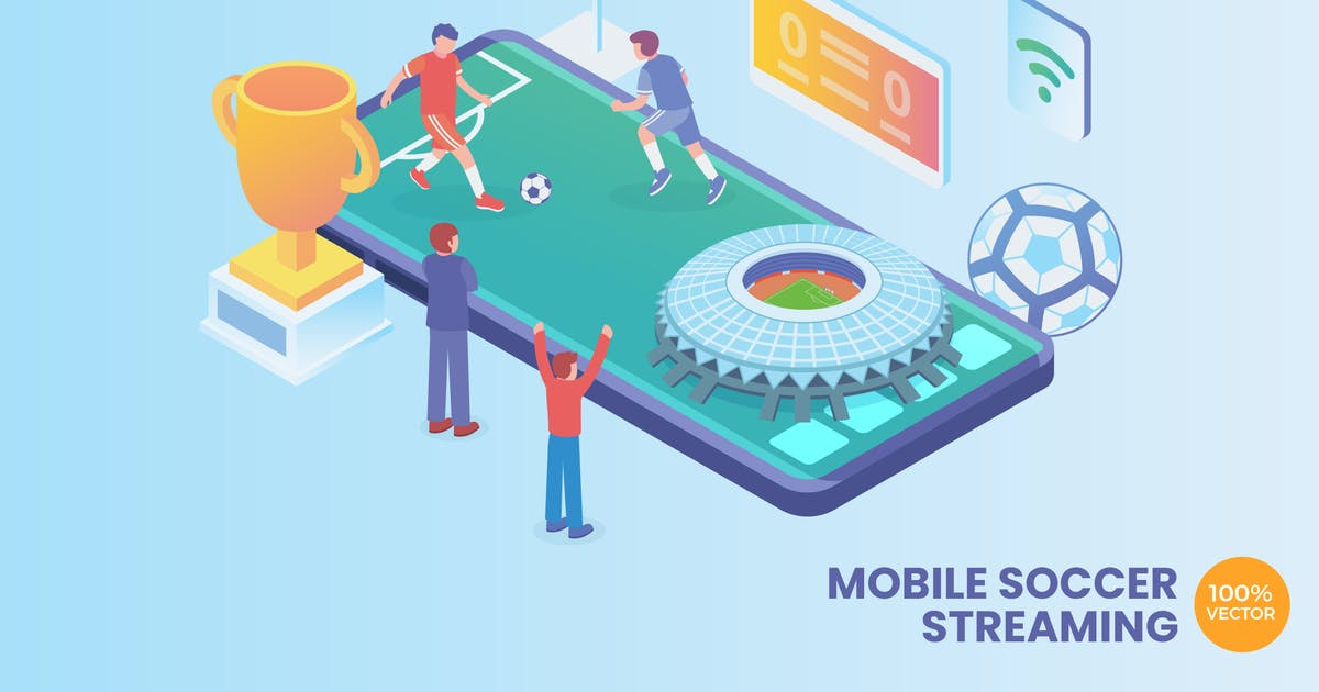 Download Isometric Soccer Streaming Vector Concept by naulicrea