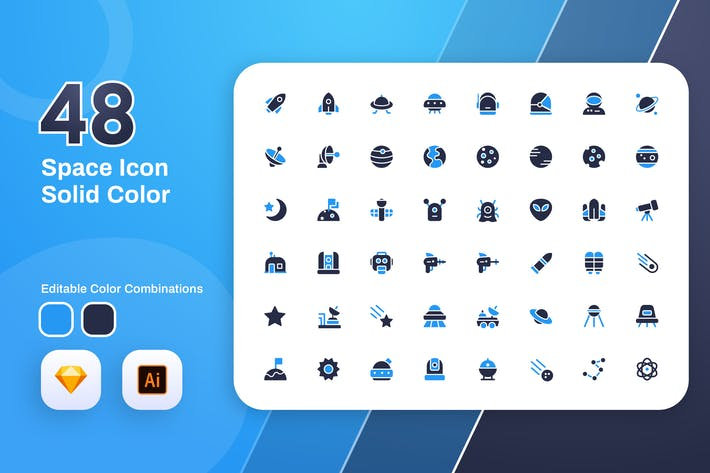 Thumbnail for Space Solid Color Icon Set