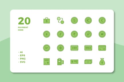 20 ZahlungsIcons (Linienfarbe)