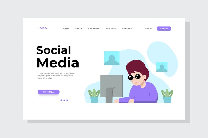 Thumbnail for Social Media Time Landing Page Illustration