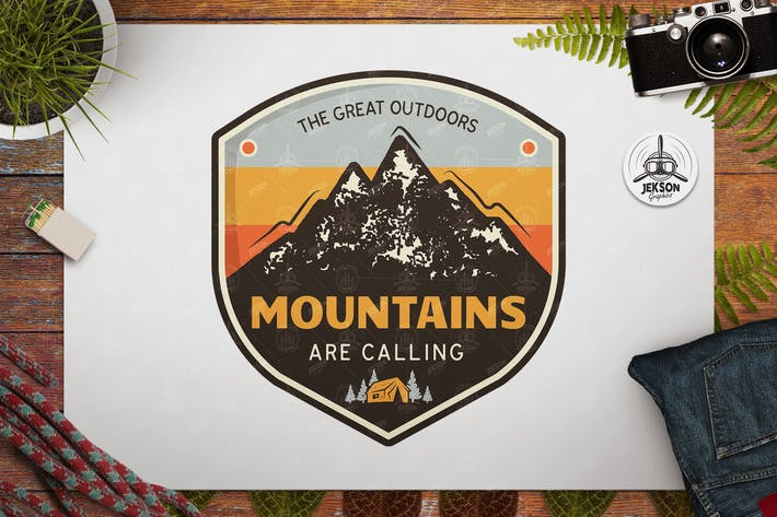 Thumbnail for Great Outdoors Badge / Vintage Travel Logo Patch