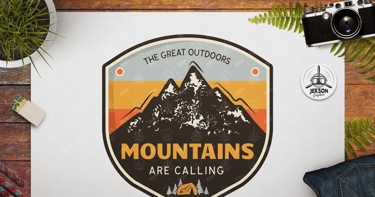 Download Great Outdoors Badge / Vintage Travel Logo Patch by JeksonJS
