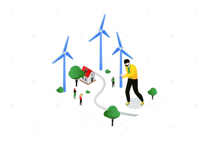 Thumbnail for Installing Wind Turbines - isometric illustration
