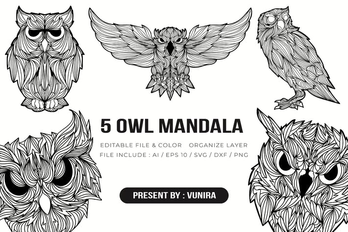 Thumbnail for 5 Eule Mandala | Design-Illustration